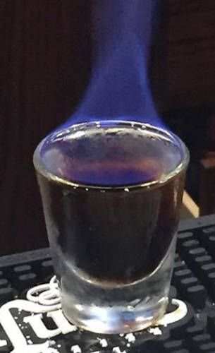 Flaming giraffe shot