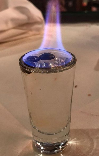 Flaming sambuca shot